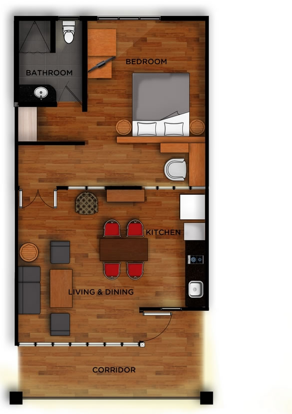 East 02 - Jimbaran Apartments - Alur Natura Apartments Bali - Floorplan