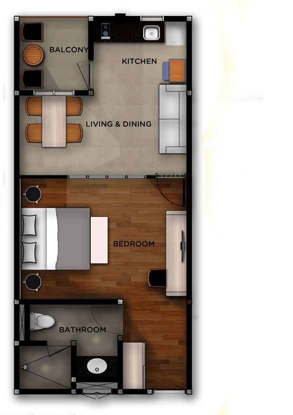 West 01 - Jimbaran Apartments - Alur Natura Apartments Bali - Floorplan