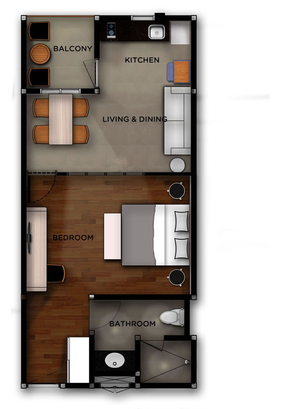 West 02 - Jimbaran Apartments - Alur Natura Apartments Bali - Floorplan